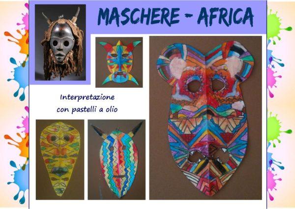 L'arte dei popoli: maschere Africa, interpretazione con pastelli a olio