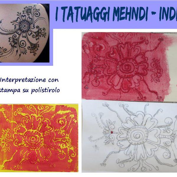 L'arte dei popoli: i tatuaggi Mehndi India, interpretazione con stampa su polistirolo