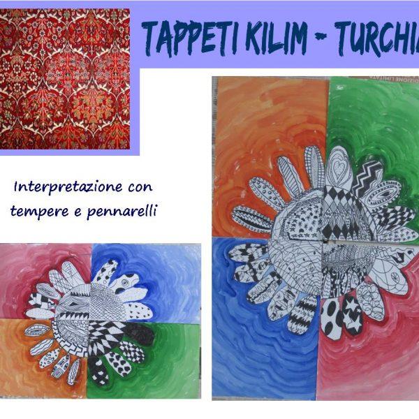 L'arte dei popoli: tappeti Kilim Turchia, interpretazione con tempere e pennarelli