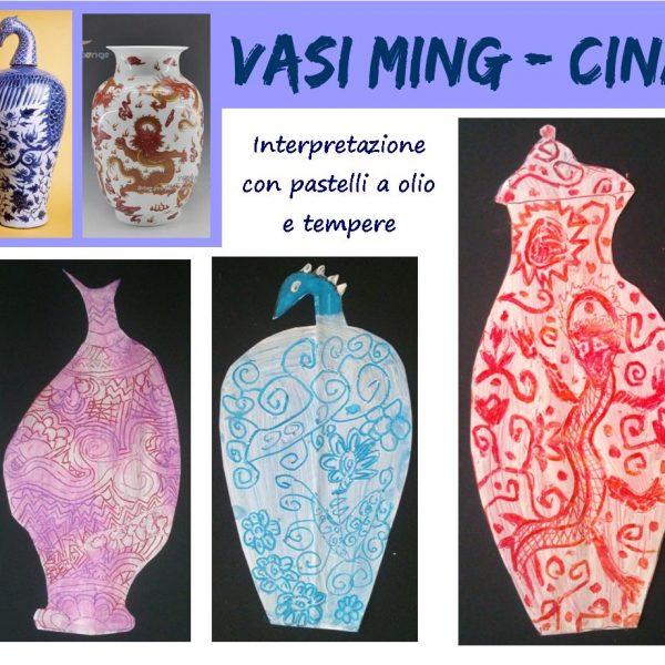 L'arte dei popoli: vasi Ming Cina, interpretazione con pastelli a olio e tempere