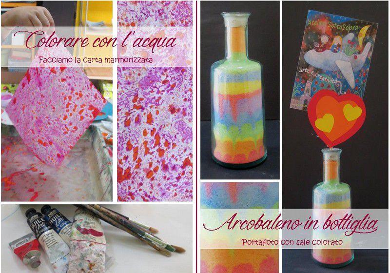 Laboratori creativi esperienziali: colorare con l'acqua, arcobaleno in bottiglia